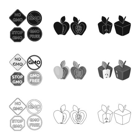 Vector illustration of test and synthetic symbol. Collection of test and laboratory stock vector illustration. Çizim