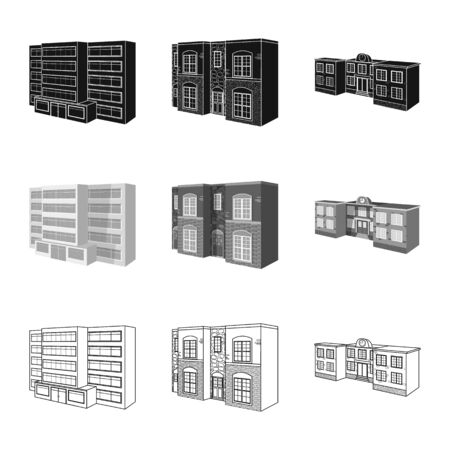 Isolated object of facade and housing icon. Set of facade and infrastructure stock vector illustration. Banque d'images - 129132858
