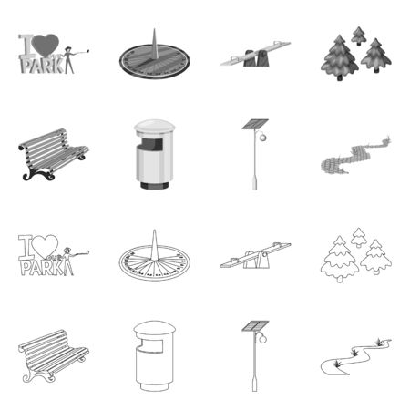 Vector illustration of urban and street icon. Set of urban and relaxation stock symbol for web. Illustration