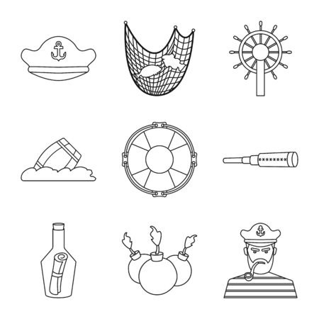 Isolated object of treasure and ocean icon. Collection of treasure and nautical vector icon for stock.
