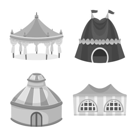 Vector illustration of outdoor and architecture  . Set of outdoor and shelter stock symbol for web.