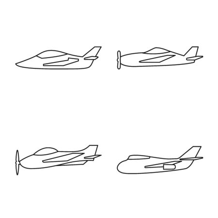 Vector illustration of commercial and flight symbol. Collection of commercial and airline vector icon for stock.