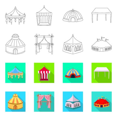 Isolated object of roof and folding symbol. Collection of roof and architecture stock vector illustration. Ilustração