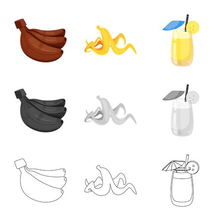 Vector illustration of natural and vegetarian icon. Collection of natural and eating stock vector illustration.
