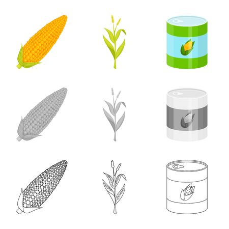 Isolated object of cornfield and vegetable sign. Set of cornfield and vegetarian vector icon for stock.
