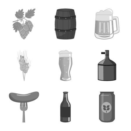 Vector illustration of restaurant and oktoberfest sign. Set of restaurant and brewing stock vector illustration.
