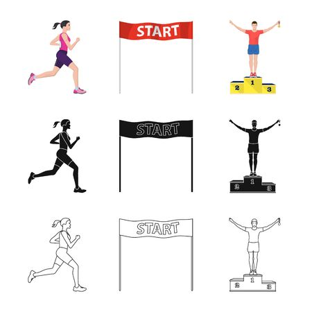 Vector illustration of sport and winner sign. Set of sport and fitness stock vector illustration.