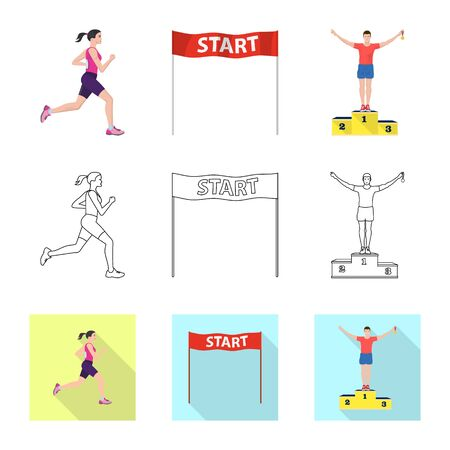 Vector illustration of sport and winner sign. Set of sport and fitness stock symbol for web.