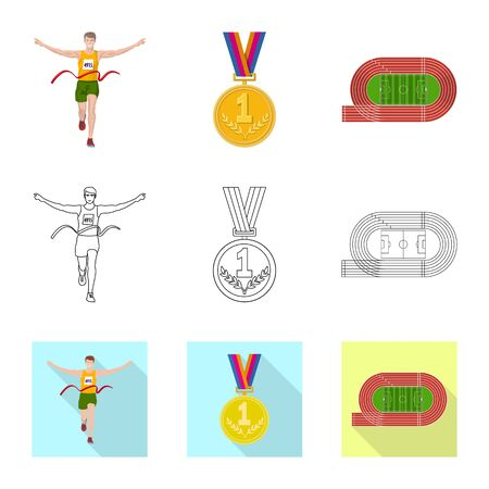 Isolated object of sport and winner . Collection of sport and fitness stock symbol for web.