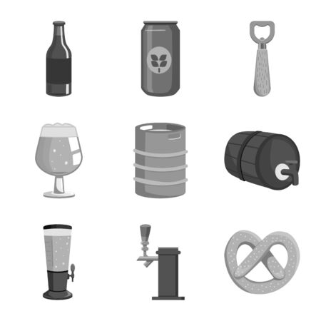 Isolated object of restaurant and oktoberfest . Set of restaurant and brewing stock symbol for web.