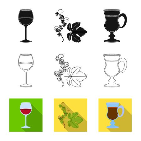 Isolated object of farm and vineyard  . Set of farm and product stock vector illustration.