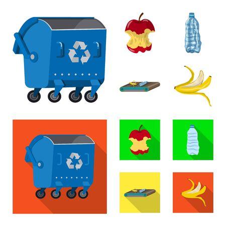 Objet isolé de l'icône des ordures et des ordures. Ensemble d'icônes vectorielles de déchets et de déchets pour le stock.