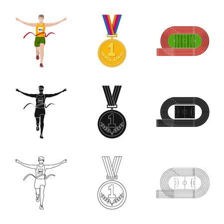 Vector illustration of sport and winner icon. Set of sport and fitness vector icon for stock. 写真素材 - 129137701