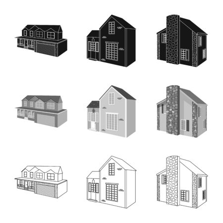 Vector illustration of facade and housing sign. Collection of facade and infrastructure stock vector illustration.