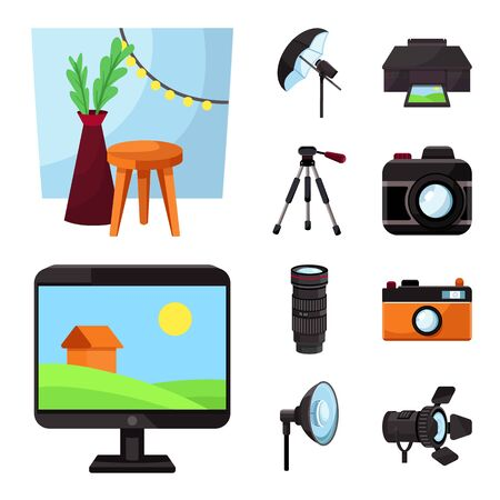 Vector design of studio and photo icon. Set of studio and equipment stock symbol for web. Stok Fotoğraf - 129137709