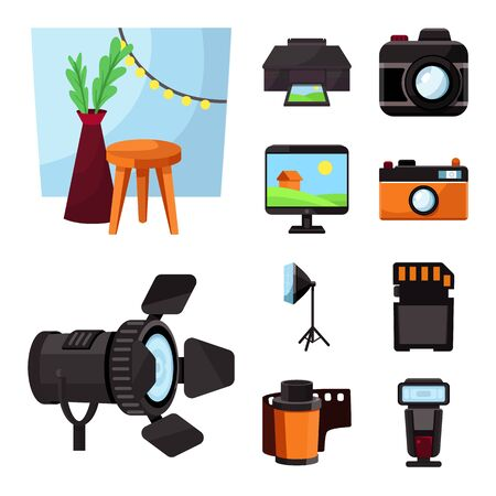 Isolated object of studio and photo sign. Collection of studio and equipment vector icon for stock. Çizim