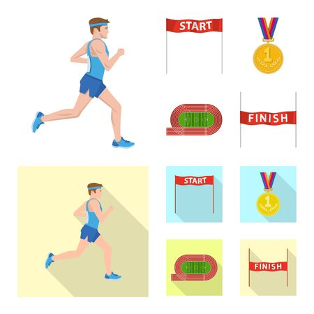 Vector illustration of sport and winner symbol. Set of sport and fitness vector icon for stock.