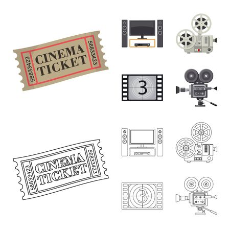 Vector design of television and filming . Set of television and viewing vector icon for stock.