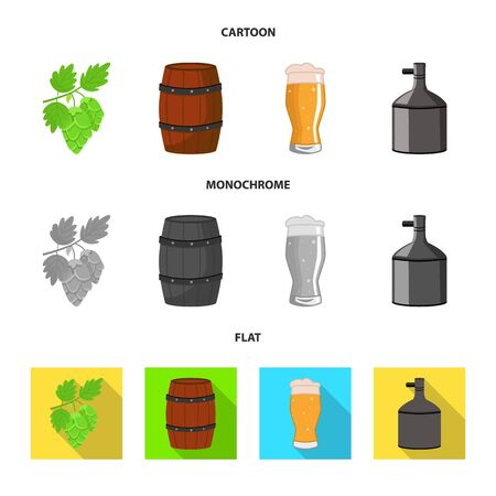 Vector illustration of brewery and brewing  . Set of brewery and ingredient stock symbol for web. Stock Illustratie