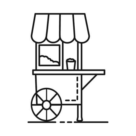 Vektor-Illustration des Warenkorbs und des Popcorn-Logos. Sammlung von Warenkorb- und Maschinenbestandssymbolen für das Web.