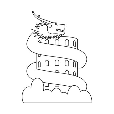 Vector illustration of dragon and giant  . Collection of dragon and building stock vector illustration.