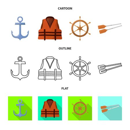Vector design of journey and seafaring sign. Collection of journey and vintage vector icon for stock.