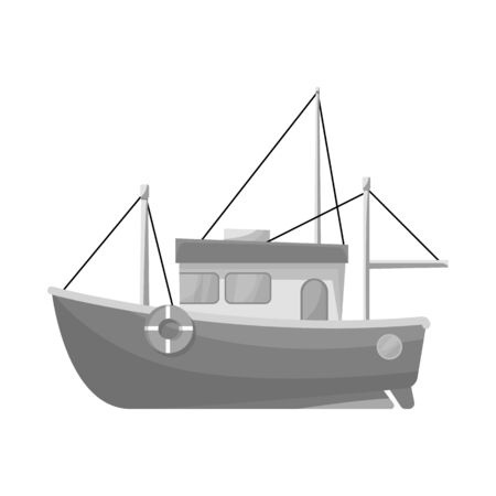 Vector design of ship and fishery logo. Collection of ship and steamboat stock symbol for web. Illustration
