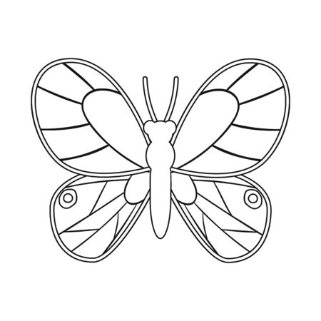 Vector design of butterfly and yellow sign. Set of butterfly and vivid vector icon for stock. Ilustrace