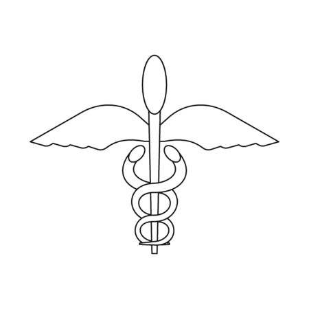 Vector illustration of winged and rod icon. Collection of winged and wings stock symbol for web. Ilustrace