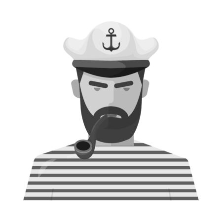 Vector design of captain and seaman symbol. Collection of captain and face vector icon for stock.