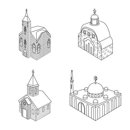 Vector design of architecture and building sign. Collection of architecture and clergy vector icon for stock.
