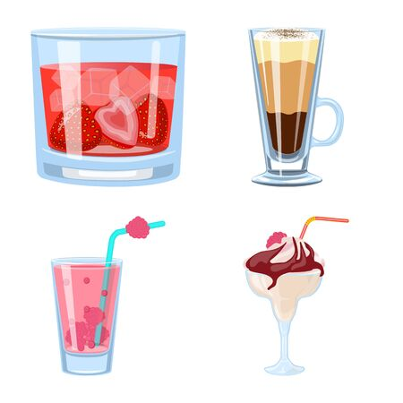 Vector illustration of cocktail and drink symbol. Set of cocktail and ice vector icon for stock.