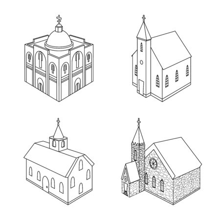 Vector design of architecture and building icon. Set of architecture and clergy vector icon for stock.