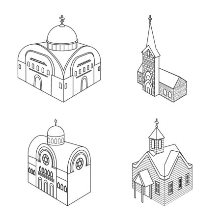 Vector design of architecture and building sign. Set of architecture and clergy vector icon for stock.