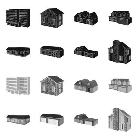 Vector design of facade and housing . Set of facade and infrastructure vector icon for stock.