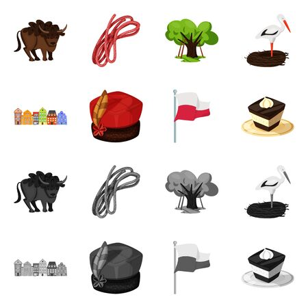 Isolated object of traditional and tour . Collection of traditional and landmarks stock vector illustration. Иллюстрация
