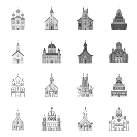 Isolated object of cult and temple icon. Collection of cult and parish stock symbol for web. Illustration