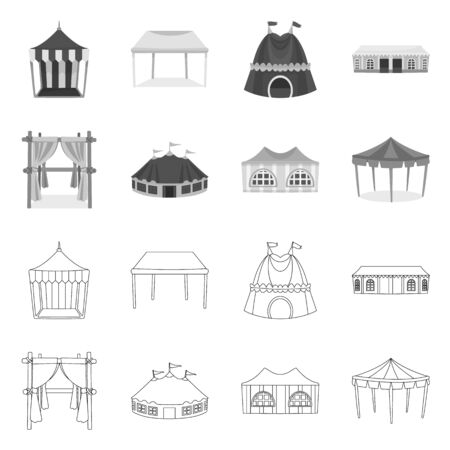 Vector design of roof and folding symbol. Set of roof and architecture vector icon for stock.