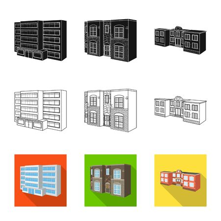 Vector design of facade and housing sign. Set of facade and infrastructure vector icon for stock.