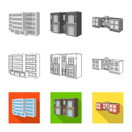 Isolated object of facade and housing symbol. Set of facade and infrastructure stock symbol for web. Illustration
