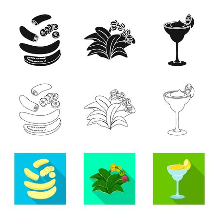 Vector illustration of natural and vegetarian symbol. Set of natural and eating vector icon for stock. Ilustrace