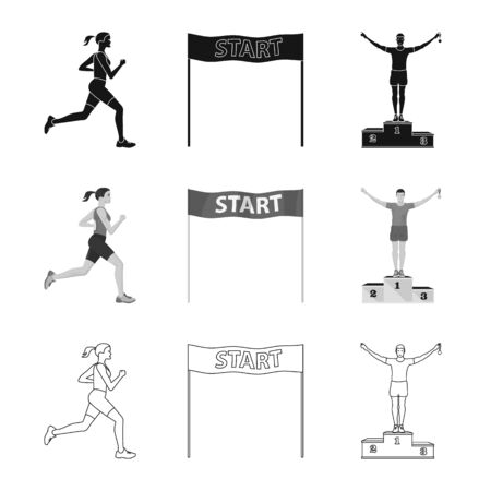 Isolated object of sport and winner sign. Collection of sport and fitness stock vector illustration.