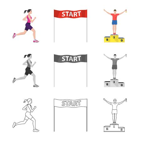 Isolated object of sport and winner sign. Set of sport and fitness stock symbol for web. Stock Illustratie