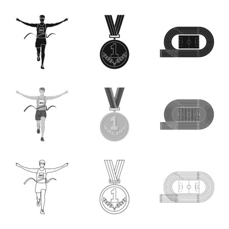 Isolated object of sport and winner icon. Set of sport and fitness stock symbol for web. Stock Illustratie