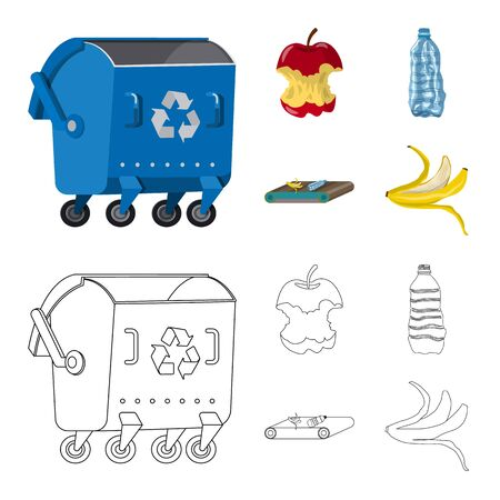 Vector design of refuse and junk sign. Set of refuse and waste vector icon for stock.