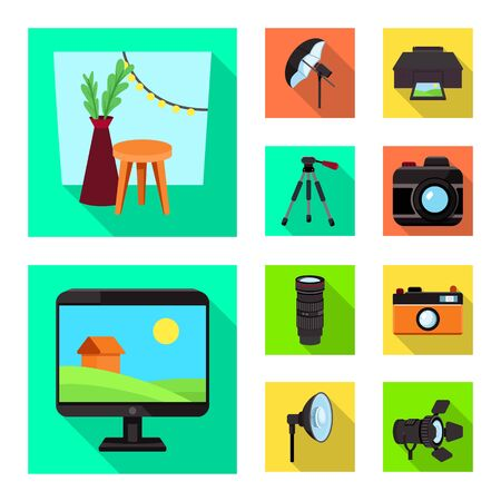 Vector design of photoshoot and work icon. Set of photoshoot and hobbies stock symbol for web.