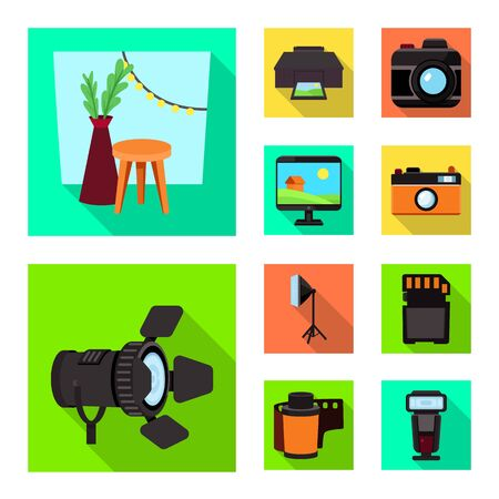 Isolated object of photoshoot and work symbol. Set of photoshoot and hobbies stock vector illustration. Stok Fotoğraf - 129136163