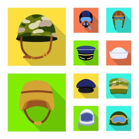 Vector design of headdress and clothing symbol. Set of headdress and armed vector icon for stock. Иллюстрация