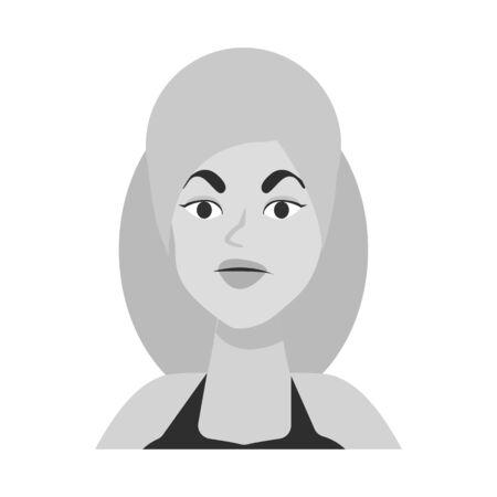 Oggetto isolato del segno del viso e della ragazza. Set di icone vettoriali viso e testa per stock.
