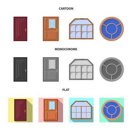 Vector illustration of door and front symbol. Collection of door and wooden stock vector illustration.  イラスト・ベクター素材
